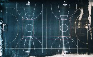 Geometric Basketball Court Representing Different Maths